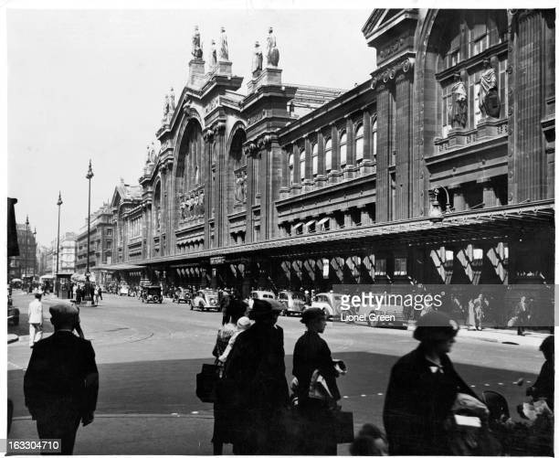 A street view of Paris Nord 'North Station' is one of the six large terminal railway stations of the SNCF mainline network for Paris France 1955