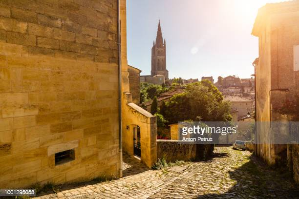 Street view of Saint Emilion at morning. Bordeaux, France