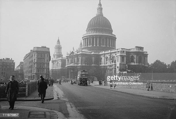Street view of St Paul's Cathedral situated at the top of Ludgate Hill in the City of London the cathedral which was designed by Sir Christopher Wren...