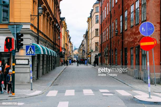 Street view of Stockholm in autumn, Sweden