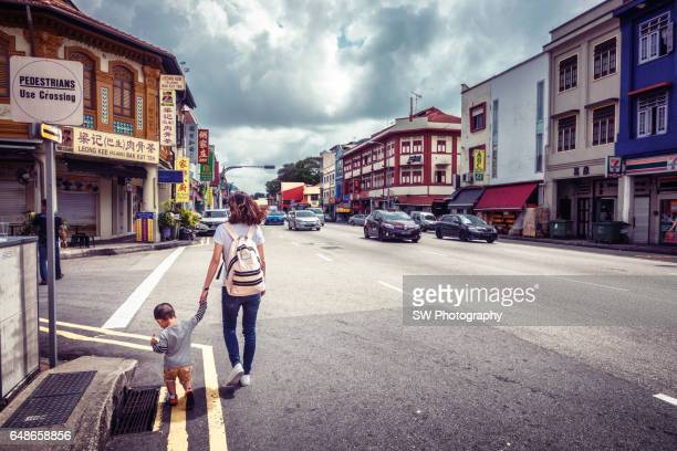 Street view of the Geylang area in Singapore