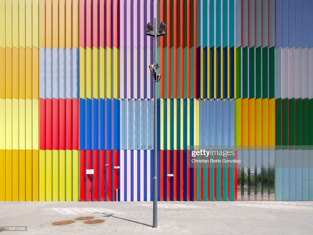 Street view of the MIRA shopping mall facade, Munich, Germany. : Stock-Foto