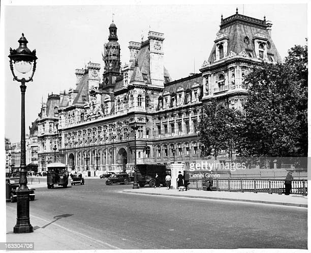 A street view of the ornate chiseled Hotel de Ville in Paris France 1955
