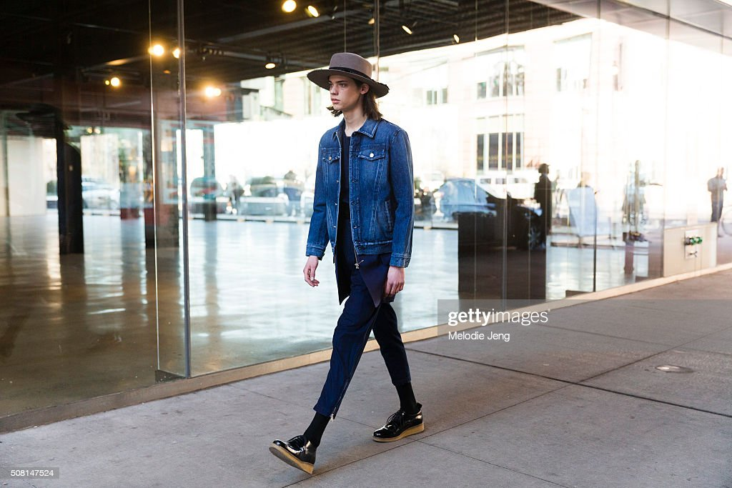 ab43bbd71 Street view of the Public School FW16 show featuring a denim jacket ...