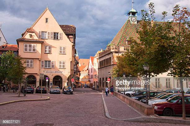 Street View of Tipica charming town located in Colmar Haut Rhin departamenteo Alsace region of France France