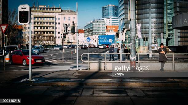 street view, vienna, austria - vsojoy stock pictures, royalty-free photos & images