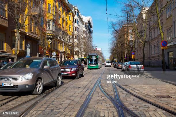 Street view with tram in Helsinki, Finland
