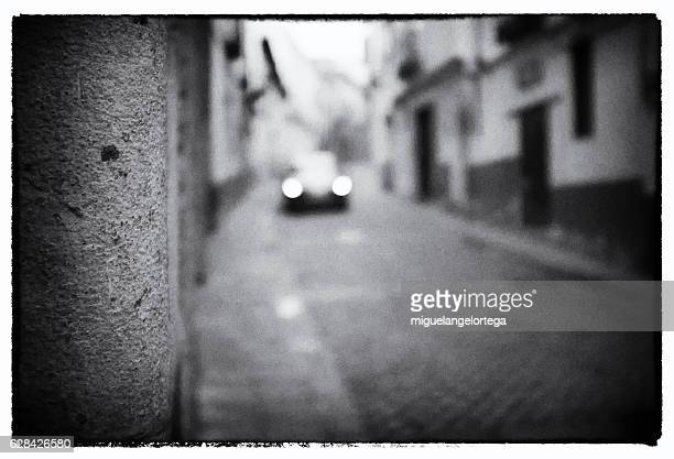 street with car - blanco y negro stock pictures, royalty-free photos & images