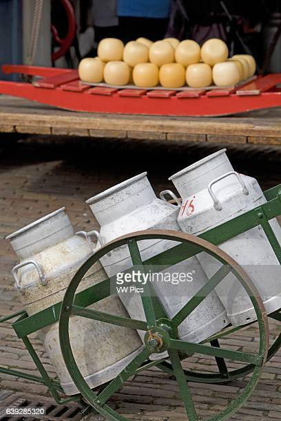 Street with Cheese and cart Edam Netherlands
