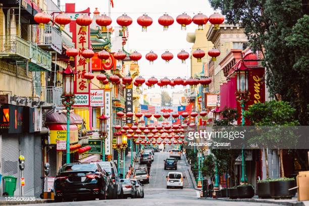 street with chinese lanterns in chinatown, san francisco, usa - chinatown stock pictures, royalty-free photos & images