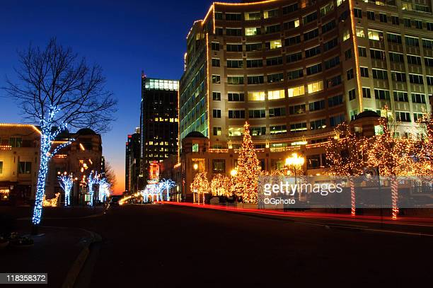 street with christmas decorations - fairfax county virginia stock photos and pictures