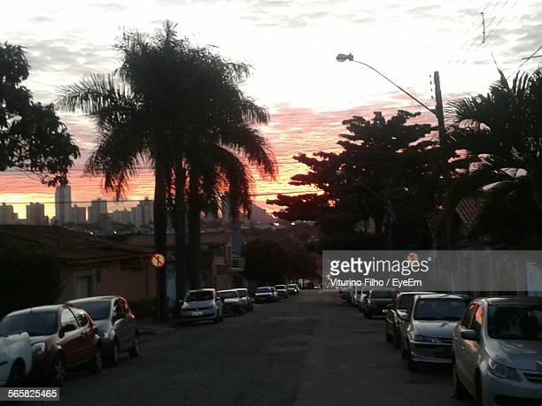 street with city in background at sunset - filho stock pictures, royalty-free photos & images