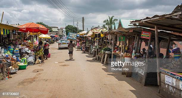 Street with market stalls in Accra on September 08 2016 in Accra Ghana