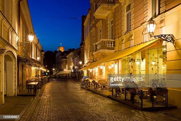 Straße mit verschiedenen restaurants in Vilnius, Litauen