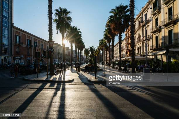 street with shops in bari, italy - avenue stock pictures, royalty-free photos & images