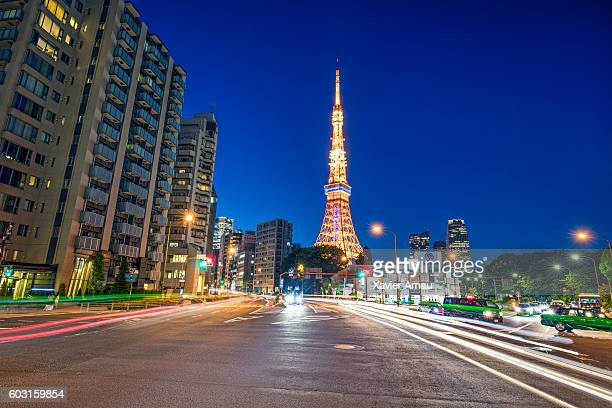 Street with Tokyo Tower in the background