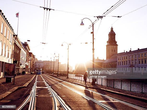 street with tram tracks in city - gothenburg stock pictures, royalty-free photos & images