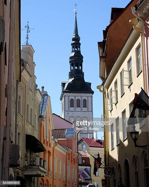 Street with view of St. Nicholas Church Tower