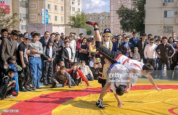 Street Wrestling Competition during the Celebration of Atyrau's 370th Anniversary in Kazakhstan The most famous Kazakh martial art is Kazaksha Kures....