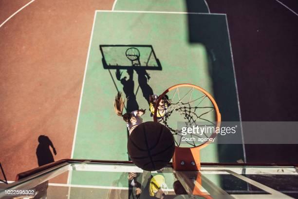 Streetball duel under the hoop