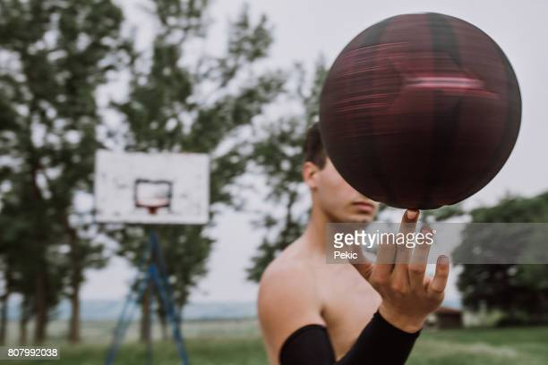 Streetball player showing his skill