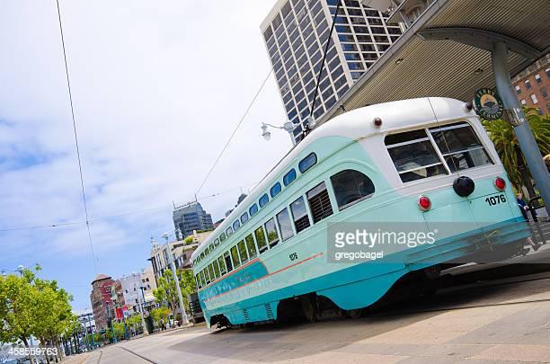 Streetcar along the Embarcadero in San Francisco, CA