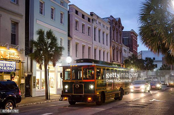 Streetcar Bus on King Street in Historic Charleston, South Carolina