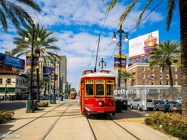 streetcar in new orleans - new orleans stock photos and pictures