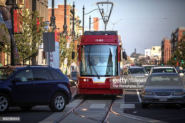 DC streetcar in testing stops before the intersection of H Street and 3rd Street NE October 16 2014 The streetcars haven't started carrying...