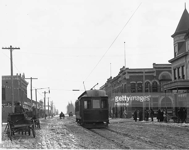 Streetcar runs through Main Street of Caldwell, Idaho, February 21, 1910.