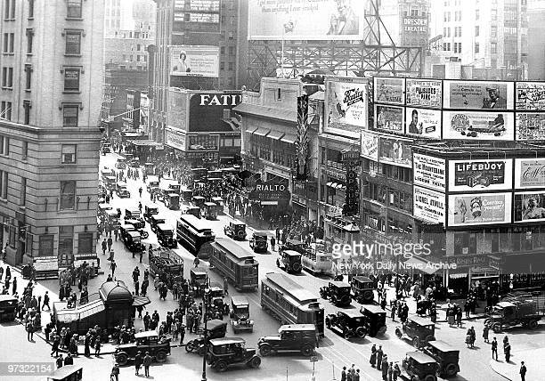 Streetcars are part of the traffic in Times Square