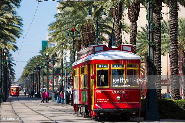 Streetcars in Canal Street in New Orleans Louisiana USA