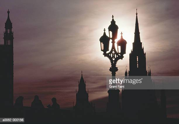 streetlight near spire - spire stock photos and pictures
