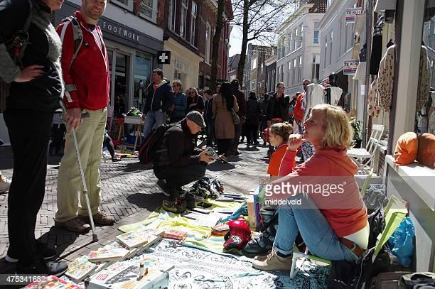 Streetmarket at Koningsdag in the city of Haarlem