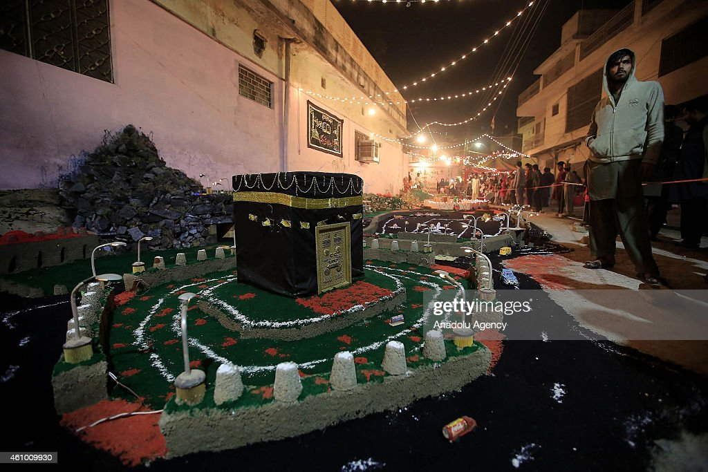 Streets and buildings are decorated with lights and ornaments within the ceremony marking the 1444th anniversary of the birthday of Prophet Mohammad, Mawlid al Nabi, in Rawalpindi, Pakistan on January 3, 2015.