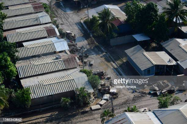 Streets and houses of La Lima remain flooded days after the rains brought by hurricane Eta on November 11, 2020 in La Lima, Honduras. Eta entered...