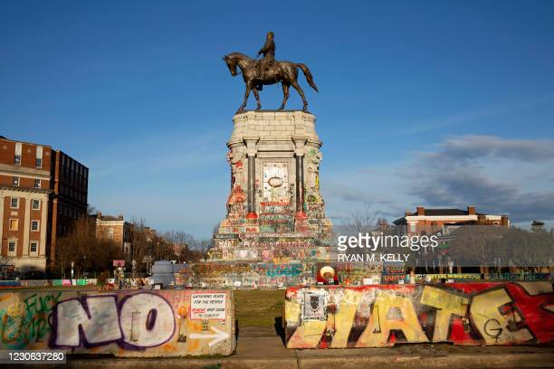 Streets are closed around the Robert E. Lee statue ahead of expected protests in Richmond, Virginia on January 17, 2021. - In addition to the heavy...