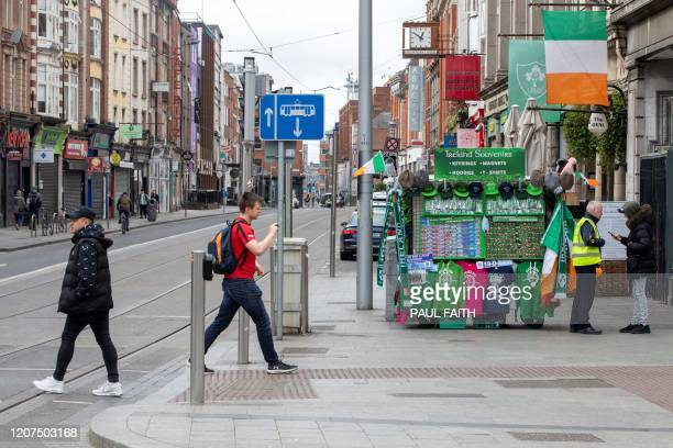 Streets are deserted in the O'Connell Street area of Dublin on March 17 as St Patrick's Day festivities are cancelled and pubs shut in reaction to...