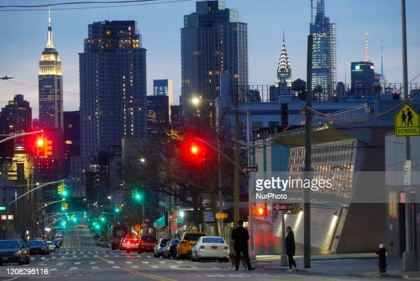 Streets are nearly empty due to COVID-19 epidemic in Queens, New York on March 25th, 2020.