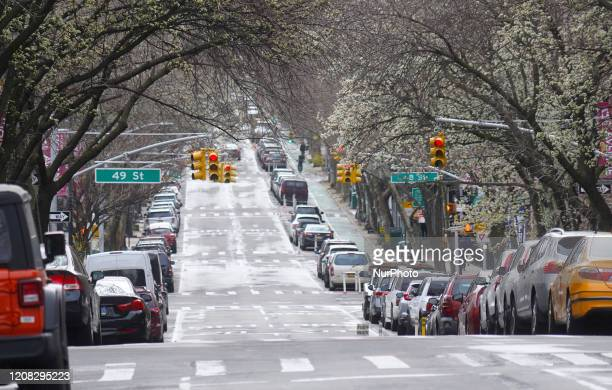 Streets are nearly empty due to the COVID19 epidemic in Sunnyside Queens New York on March 25th 2020