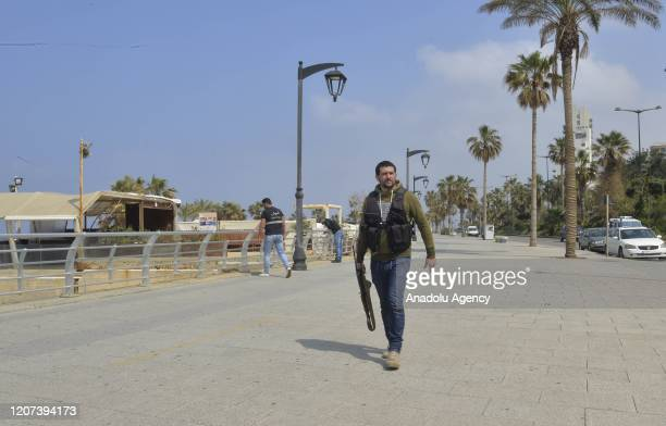 Streets are seen almost empty after Lebanese Prime Minister Hassan Diab declared a state of emergency Monday due to the novel coronavirus outbreak in...