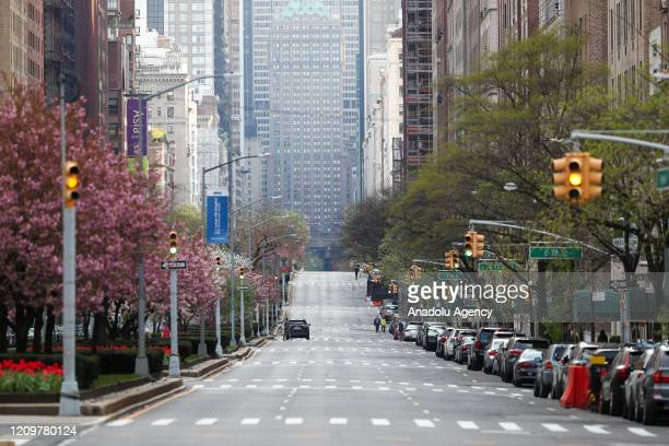 Streets are seen empty due to coronavirus pandemic in New York City United States on April 12 2020