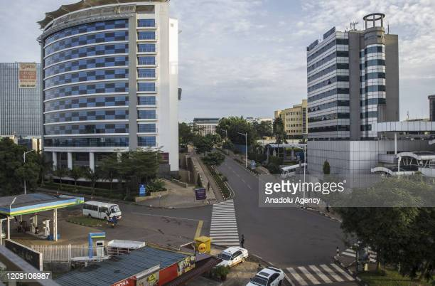 Streets are seen empty due to the precautions taken against the novel coronavirus in Kigali, Rwanda on April 04, 2020.