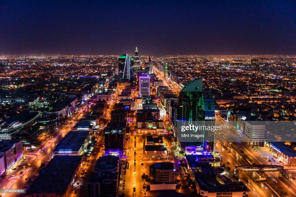 Streets in illuminated cityscape, Riyadh, Saudi Arabia : Stock Photo