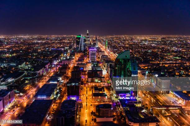 streets in illuminated cityscape, riyadh, saudi arabia - saudi stock pictures, royalty-free photos & images