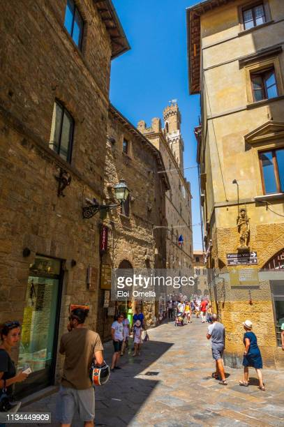 streets in volterra medieval town. tuscany - volterra stock photos and pictures