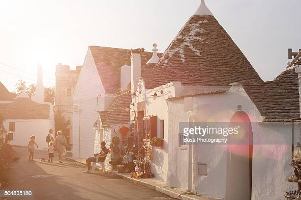 Streets lined by Trulli houses in Alberobello, near Bari, Apulia, southern Italy