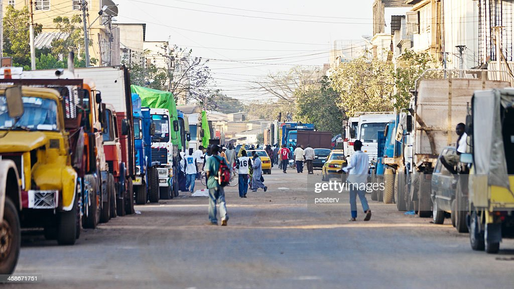Streets of african town. : Stock Photo
