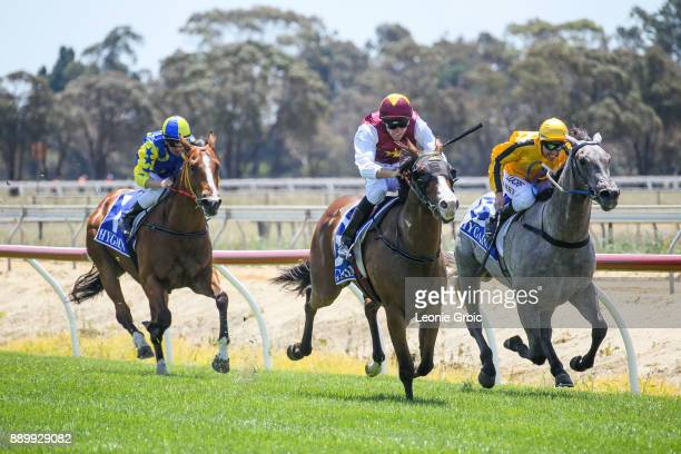 Streets of Avalon ridden by Clayton Douglas wins the Edge associates Temp Fence Hire 3YO Maiden Plate at Bairnsdale Racecourse on December 11 2017 in...