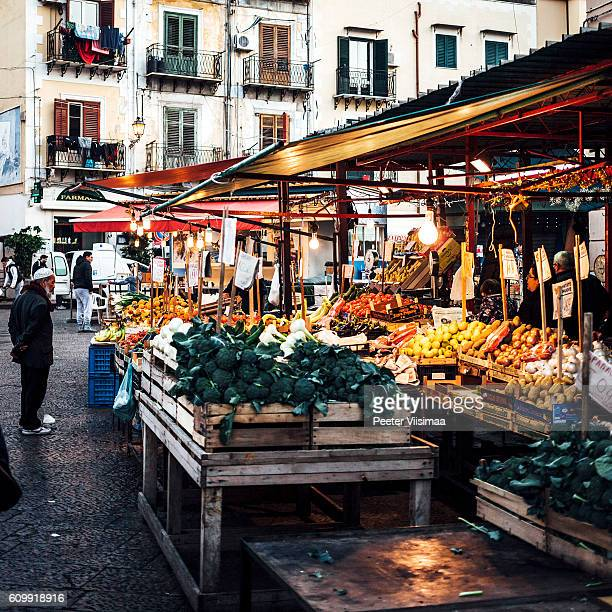 Streets of Ballaro market. Palermo, Sicily.